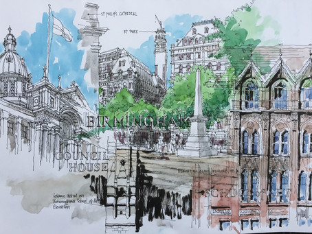 The first UK Urban Sketchers meet in Birmingham