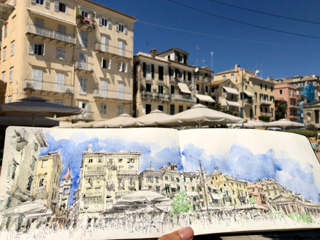 My face mask and other sketchbooks - a week in Corfu