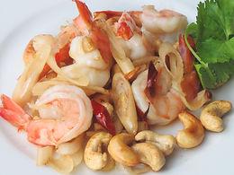 パット クン タクライ(海老とカシューナッツのレモングラス炒め)Shrimp and cashew nuts sautee