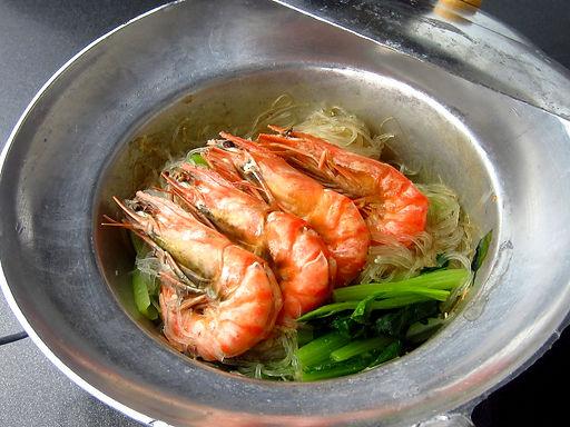 クン オップ ウンセン(有頭エビと春雨の蒸し焼き)Steamed to the head on shrimp and vewmicelli