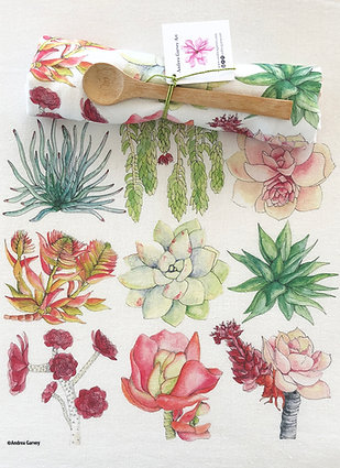 Succulent Flour Sack Tea Towel