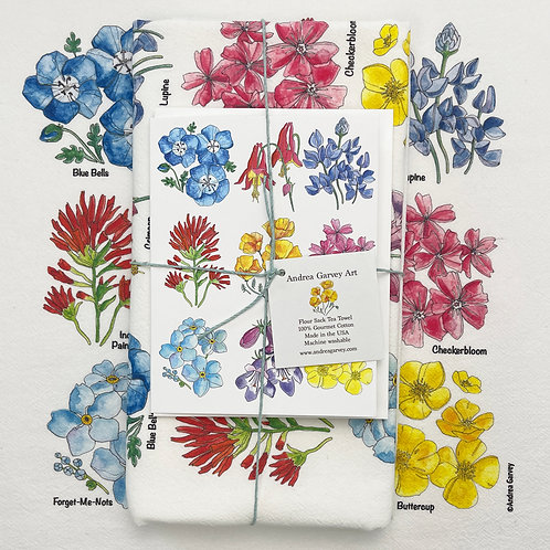 """California Wildflowers"" Flour Sack Tea Towel + Card Bundle"