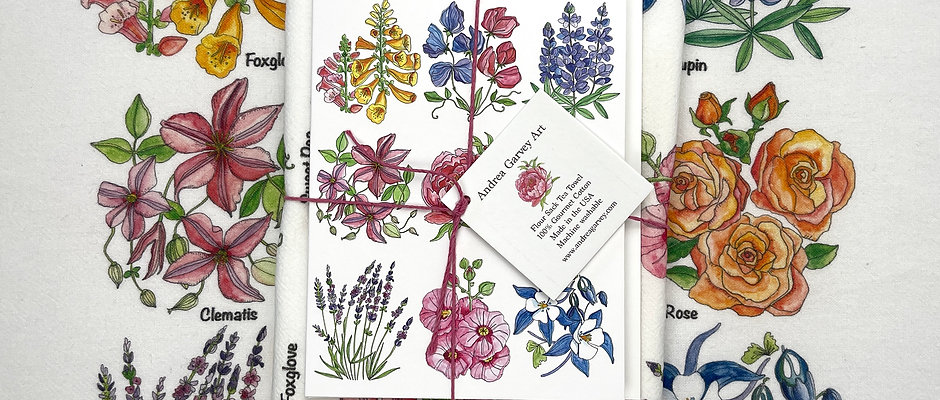 """English Garden"" Flour Sack Tea Towel + Card Bundle"