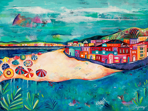 Capitola Beachside Giclee Art Print