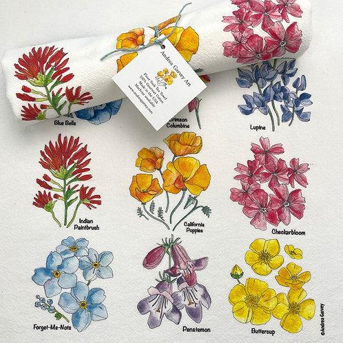 """California Wildflowers"" Flour Sack Tea Towel"