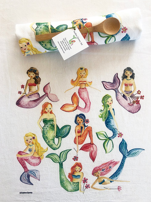 Mermaids Flour Sack Tea Towel