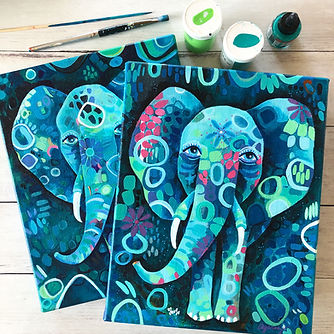 2 Whimsical Elephants Andrea Garvey.jpg
