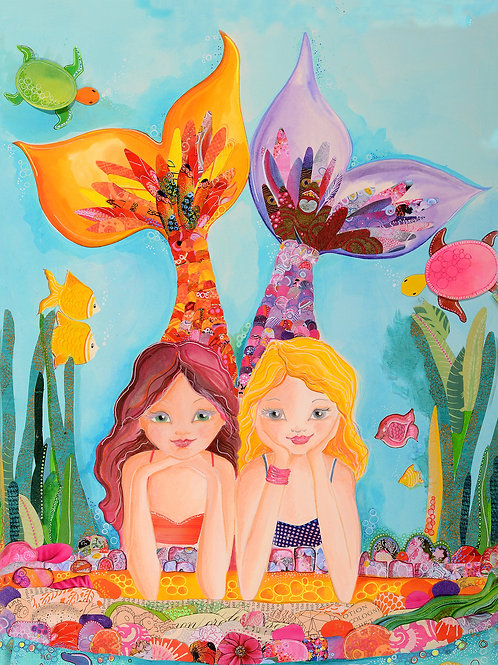 Best Friends Forever Mermaids Giclee Gallery Wrap