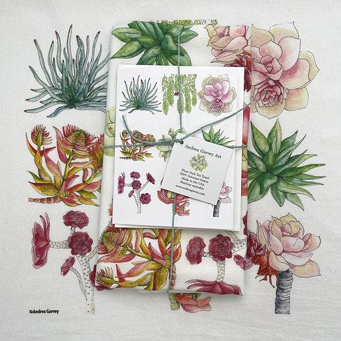 """Sweet Succulents"" Flour Sack Tea Towel + Card Bundle"