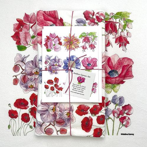 """""""Pretty Petals"""" Flour Sack Tea Towel + Card Bundle"""