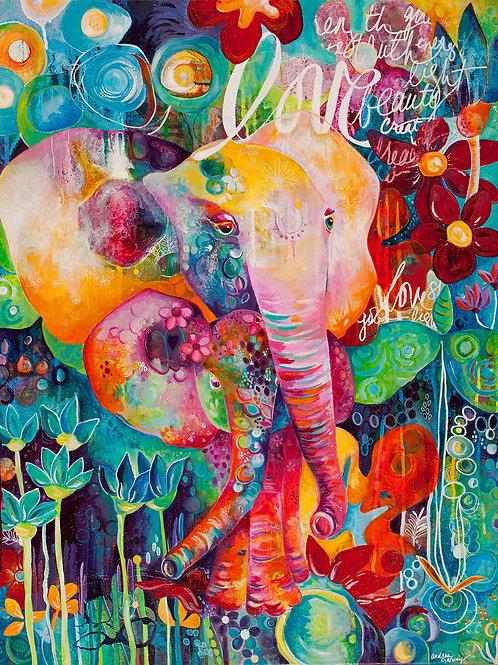 Mama Love Elephant Giclee Gallery Wrap