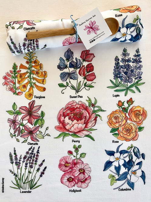 """Cottage Garden"" Flour Sack Tea Towel"