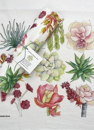 """Sweet Succulents"" Flour Sack Tea Towel"