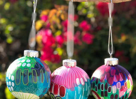 Bright, colorful ornaments for the tree