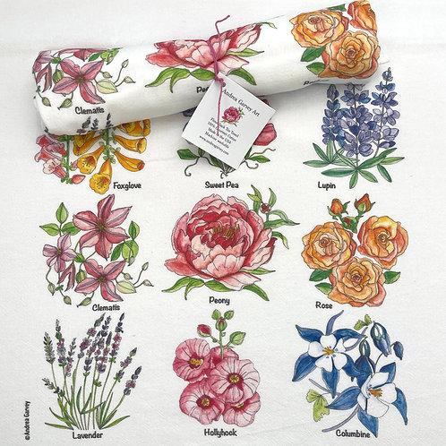 """""""English Garden"""" Flour Sack Tea Towel"""