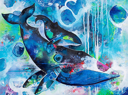 Humpback Whales Giclee Gallery Wrap