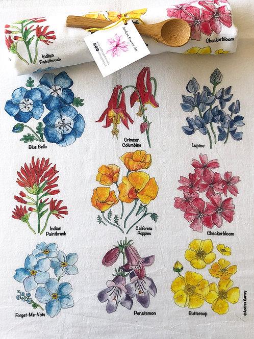 California Wildflower Flour Sack Tea Towel