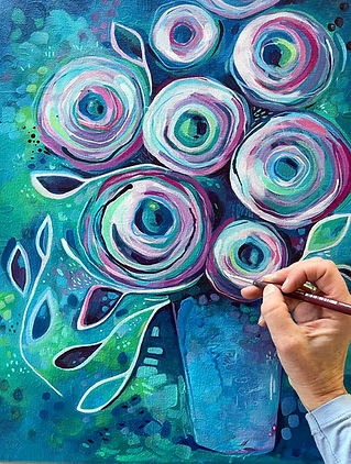 Painting Blue Rosettes__Andrea Garvey_Wi