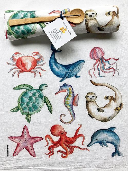 """Sea Creature Love"" Flour Sack Tea Towel"