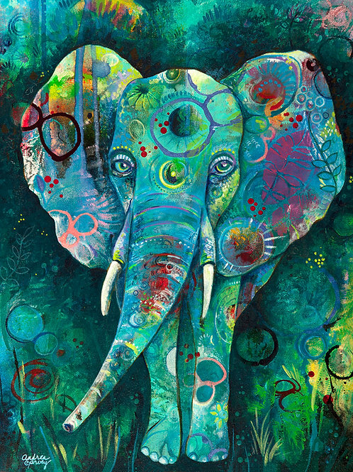 Majestic Blue Elephant Giclee Art Print