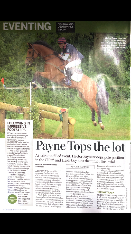 Horse & Hound Write Up for Toby