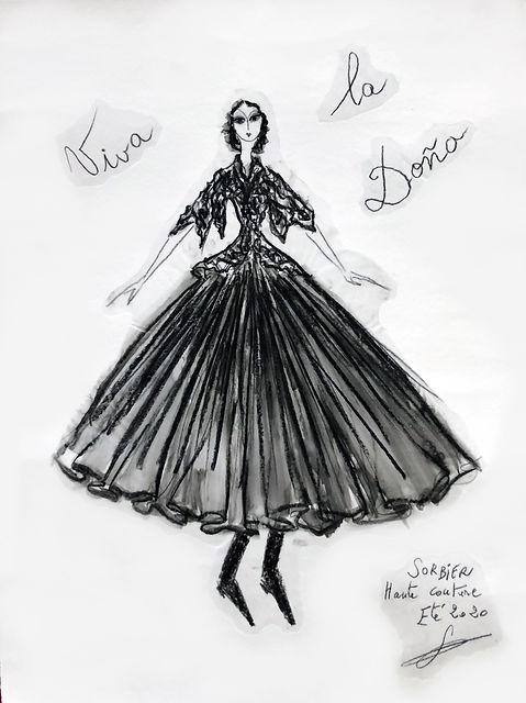 Dessin Franck Sorbier Haute Couture Été 2020