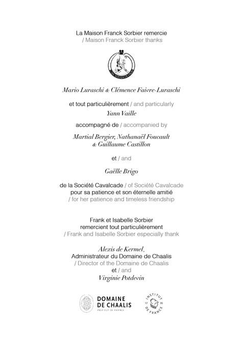 Programme L'Esprit des lieux Chaalis La Servante, le Passeur et la Relique Collection Franck Sorbier Haute Couture Hiver 2021-2022