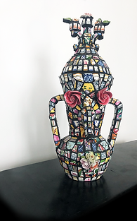 """Statue-vase """"with rosebuds"""" Earthenware and porcelain mosaic composition"""