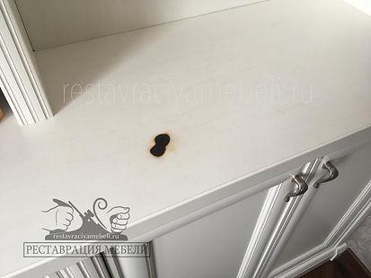 Ожог от свечи на белой мебели