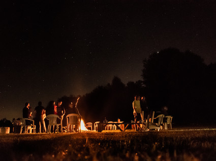 Bonfire areas for gathering, drumming, star gazing
