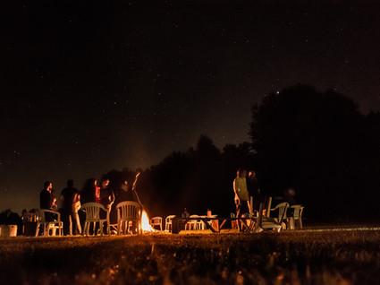 Bonfire areas for gathering, drumming, star gazing