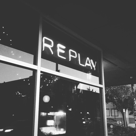 """Favorite Signs of #LFK, No. 8: The Replay (""""Lounge"""" not pictured). Living behind the Replay, where the PBR flows like water, I've been treated to many a free patio concert by countless local musicians over the last 10 years just by cracking a window. One of the perks of downtown Lawrence living."""