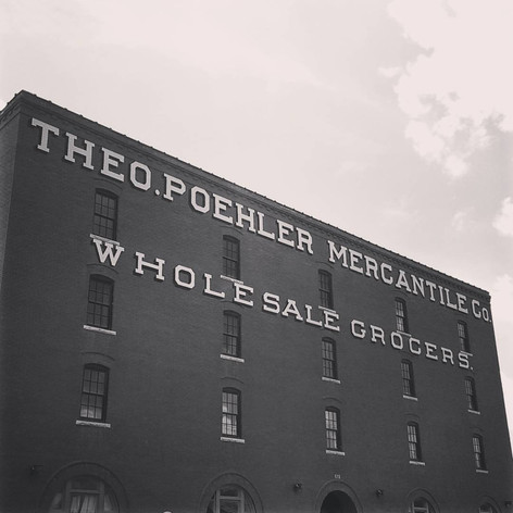 Favorite Signs of #LFK, No. 10: Theo.Poehler Mercantile Co. (starving artist edition). This former grocery warehouse building was converted into lofts several years ago as an anchor to the Warehouse Arts District, a hub for the city's creative minds to do their thing.