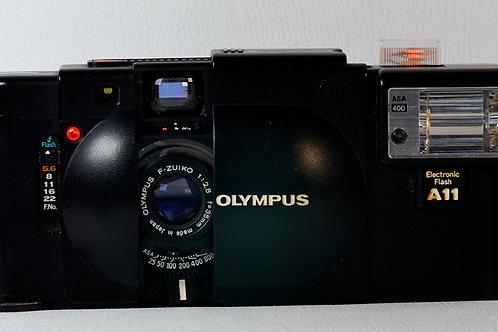 Olympus XA rangefinder with A11 flash
