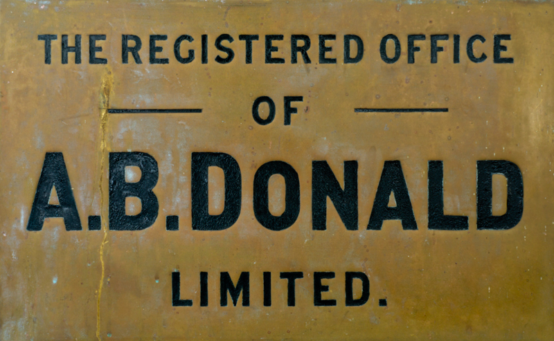 A.B.Donald Ltd 1870 brass plaque
