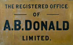 A.B.Donald Ltd 1870 brass plaque