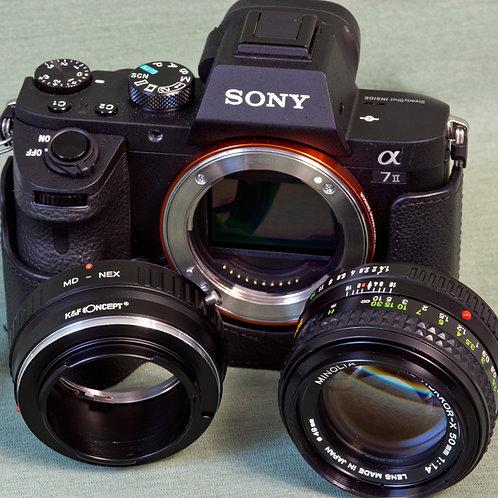Minolta MD Rokkor-X 50mm F1.4 lens with K&F MD lens - E mount adapter