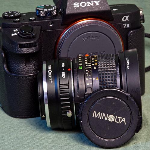 Minolta MD Rokkor-X 28mm F2.8 lens with K&F MD lens - E mount adapter