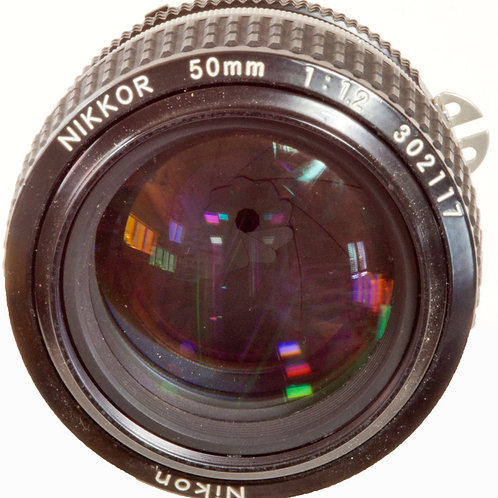 Nikkor 50mm F1:1.2 manual focus prime lens front view