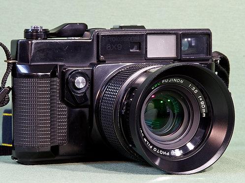 Fuji GW690II medium format rangefinder camera front view