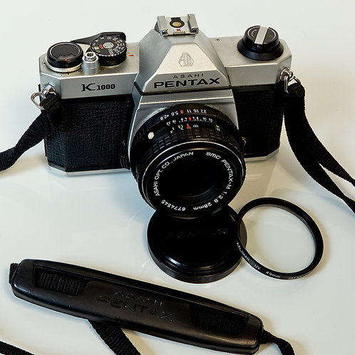 Pentax K1000 with 28mm F2.8 lens front view