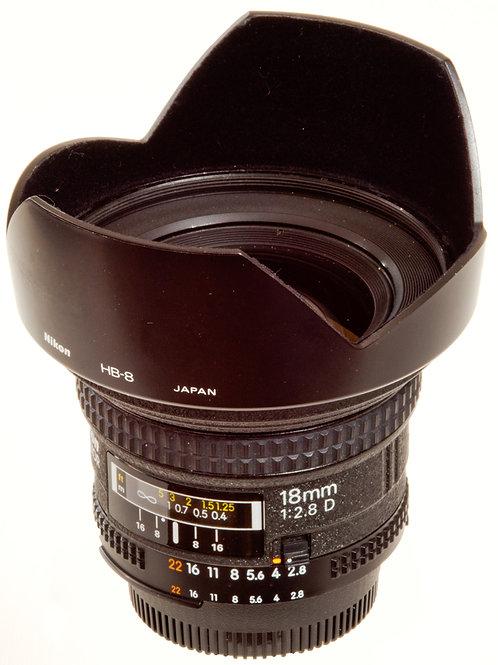 Nikkor AF 18mm F2.8D wide angle prime lens side view