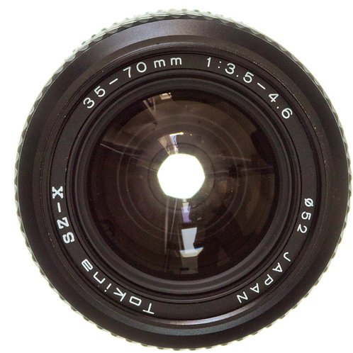 Pentax 35-70mm F3.5-4.6 zoom macro manual focus Tokina lens front view