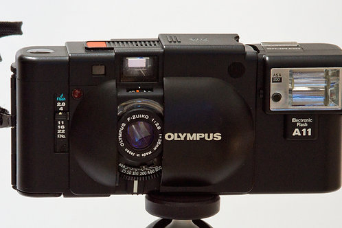 Olympus XA with A11 flash front view
