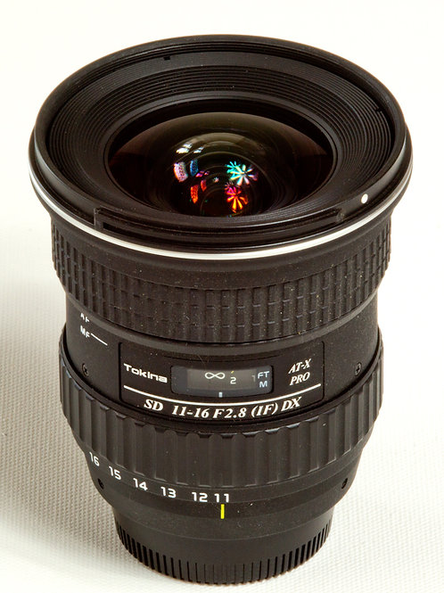 Tokina AF 11-16 F2.8 ATX Pro DX wide angle zoom lens - Nikon mount side view