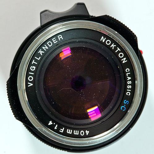 Voigtlander 40mm F1.4 SC Nokton classic lens front view