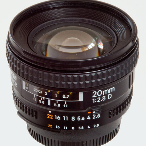 Nikon 20mm F2.8D wide angle FX prime lens main view