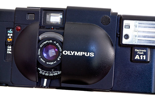 Olympus XA rangefinder for sale in Auckland. front lens view.