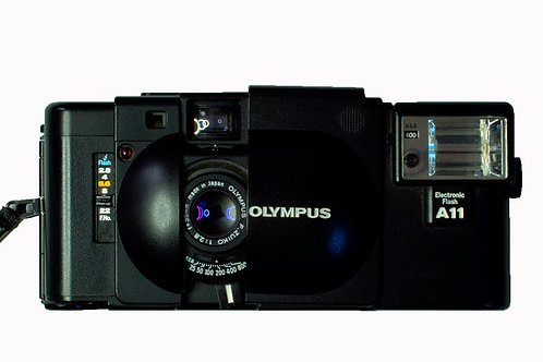 Olympus XA rangefinder front view