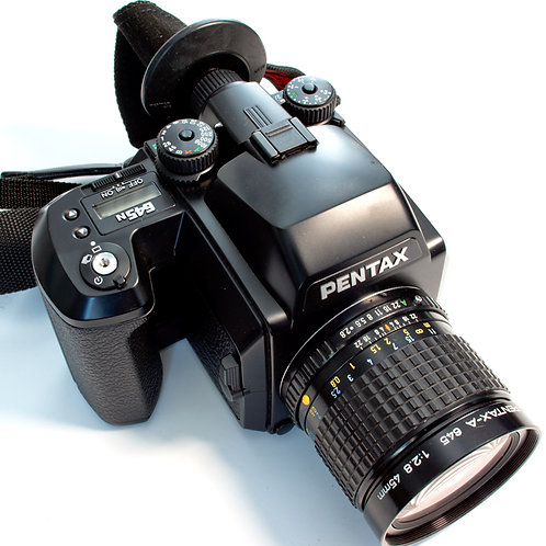Pentax 645N with 45mm lens front view